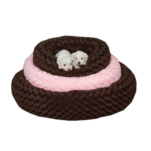 Slumber Pet Polyester Swirl Plush Donut Dog Bed, Small, 18-Inch, Pink