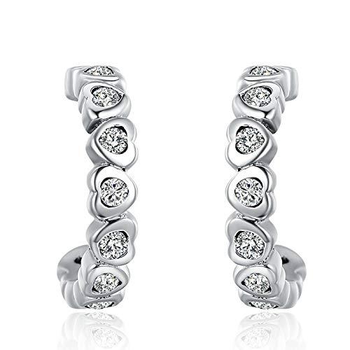 - Brincos 925 Sterling Silver Entwined Wave Cross Water Drop Droplet Heartstud Earrings for Women Sterling Silver