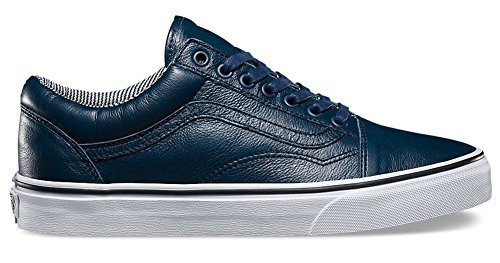 Vans Unisex OLD Skool Leather Skate Shoe (12.5 B(M) US Women / 11 D(M) US Men, DRESS BLUES/STRIPES)