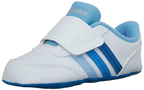 adidas Baby V Jog Crib (Infant/Toddler) Sneaker White/Solar Blue2/Unity Blue 3 M