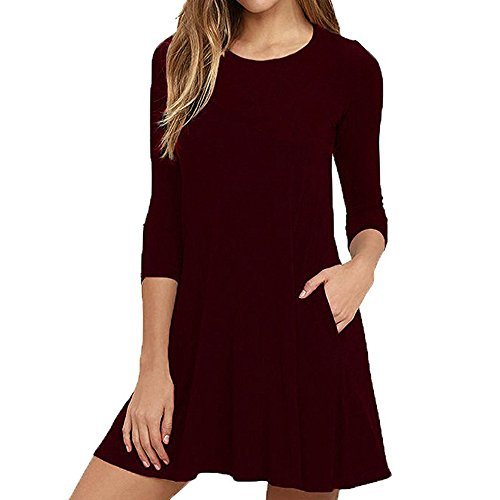 Syban Women Sexy Summer Fashion Thin Solid Color Casual Autumn Winter Dress (XX-Large,Y-Wine) -
