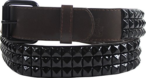 Brown 3 row pyramid studded leather belt W/ black studs, Size: Small (29-33), Color: Brown 3 Row