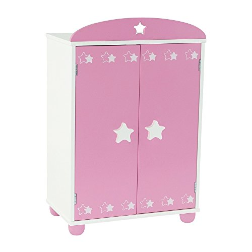 18 Inch Doll Furniture | Doll Closet Armoire with Star Detail, Includes 5 Wooden Clothes Hangers | Fits 18