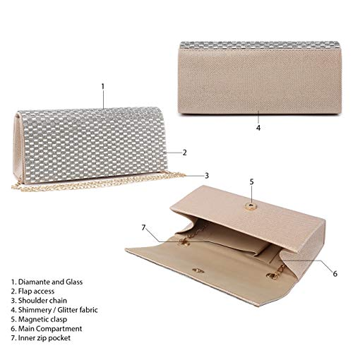 Diamante Beige and Evening Wedding Mirror Bag Womens Clutch Encrusted 1 Design Mabel London Purse tOAEaqtx