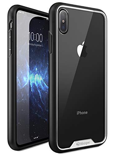 iPhone Xs Max Case, Mazoper Premium Hybrid Protective Clear,Slim Thin Lightweight Bumper Scratch Resistant Drop Protection Shockproof Hard PC Cover for Apple iPhone Xs Max (Black/White)