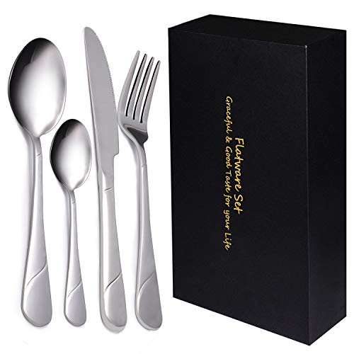 Yazer 24-Piece Silverware Flatware Cutlery Set, Stainless Steel Utensils Service for 6, Include Knife/Fork/Spoon, Mirror Polished, Dishwasher Safe Silver