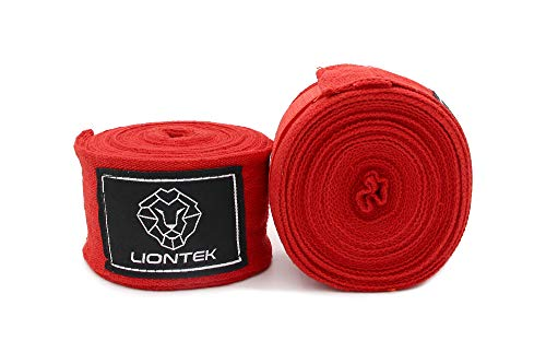 Liontek Pro Elastic 180 inch Hand Wrap - Spandex and Cotton Material with Thumb Loop and Closure (Red)