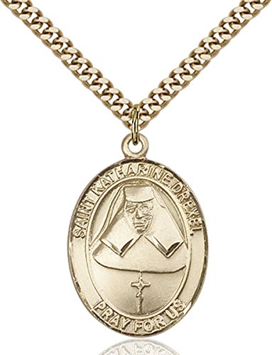 14K Gold Filled Catholic Saint Katharine Drexel Medal, 1 Inch