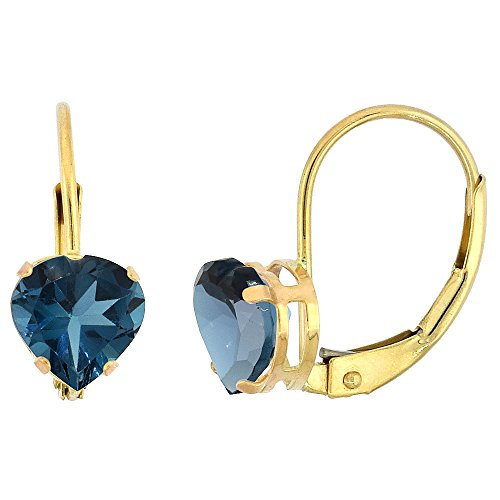 - 10k Yellow Gold Natural London Blue Topaz Leverback Earrings 6mm Heart Shape 1.5 ct, 9/16 inch