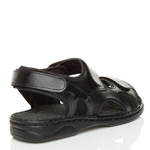 Herren Kleine Absatz Echtleder Klettverschluss Riemen Verstellbar Sandalen Größe Schwarz