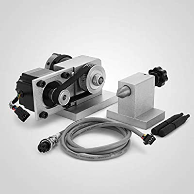 Mophorn CNC Router Rotary Axis 3-Jaw CNC Rotational Axis 50mm 4th Axis Rotary with 2-Phase 57 Stepper Motor for CNC Engraving Machine