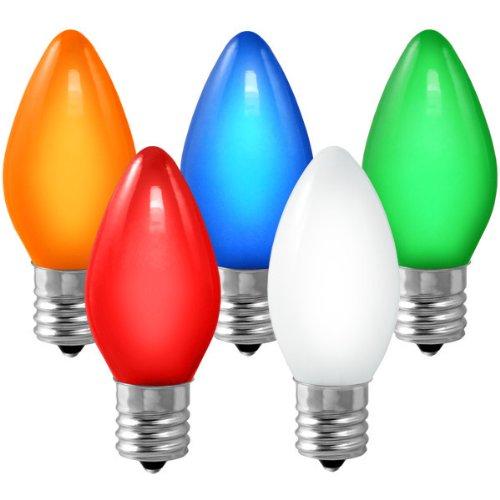 C9 - Ceramic Multi-Color - 7 Watt - Intermediate Base - Christmas Lights - 25 Pack (Lights C9 Christmas)
