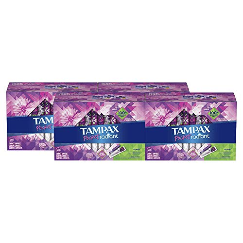 (Tampax Pocket Radiant Plastic Tampons, Super Absorbency, Unscented, Compact, 28 Count - Pack of 4 (112 Count Total) (Packaging May Vary))