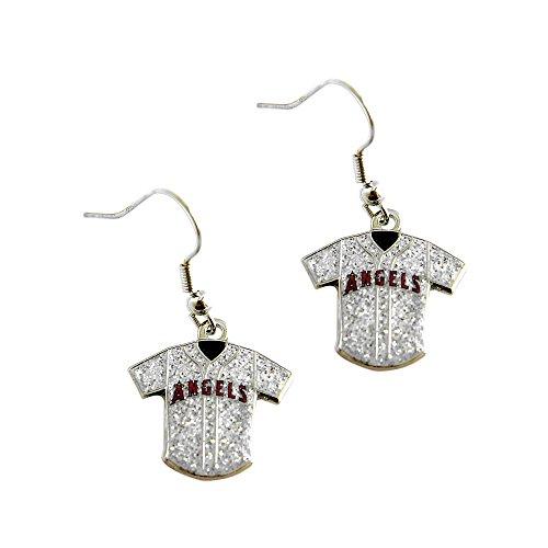 (MLB Los Angeles Angels of Anaheim Ladies Glitter Jersey Earrings)