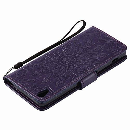 Yiizy Sony Xperia XA Custodia Cover, Sole Petali Design Sottile Flip Portafoglio PU Pelle Cuoio Copertura Shell Case Slot Schede Cavalletto Stile Libro Bumper Protettivo Borsa (Porpora)