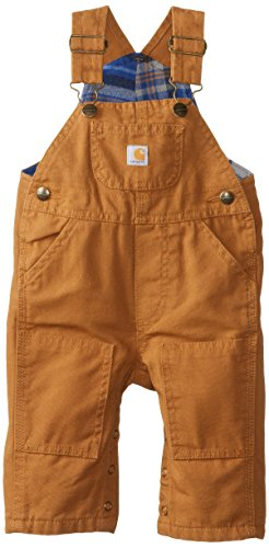 Carhartt Baby Boys' Washed Canvas Bib Overall, Carhartt Brown, 3 Months
