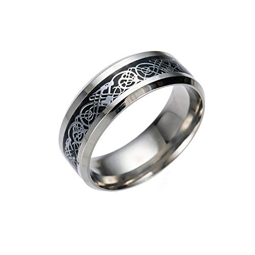 XINHUXIN Blue Black Dragon Pattern Beveled Edges Celtic Rings Jewelry Wedding Band for Men