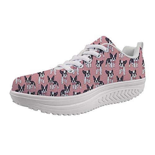Showudesigns Wedge Fitness Sneakers Women Trainer Swing Slimming Walking Shoes Boston Terrier Pink