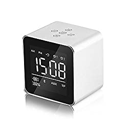 Aolvo Mini Portable Wireless Bluetooth 3.0 Speaker, Dual Alarm Clock, 3D Stereo Music Player with Mic,Handsfree Call,AUX Line,Usb Charge,TF Card,HD Sound for Iphone Ipad Android Smartphone and More