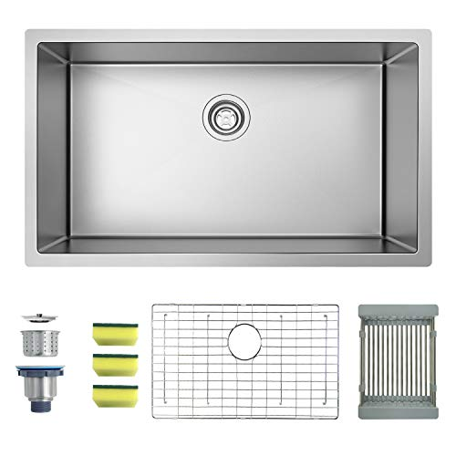 MENSARJOR 32'' x 19'' Single Bowl Kitchen Sink 16 Gauge Undermount Stainless Steel Kitchen Sink, Bar or Prep Kitchen sink ()
