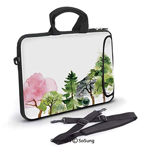 (15 inch Laptop Case,Colorful Forest with Oak and Willow Growth Purity Nobility in Mother Earth Theme Art Neoprene Laptop Shoulder Bag Sleeve Case with Handle and Carrying & External Side Pocket,for Ne)