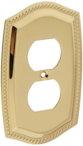 Baldwin 4789030 Outlet Rope Switch Plate, Bright Brass by Baldwin - Baldwin Rope Outlet