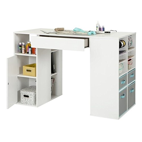 White Storage Desk (South Shore Crea Pure White Counter-Height Craft Table and Stool)