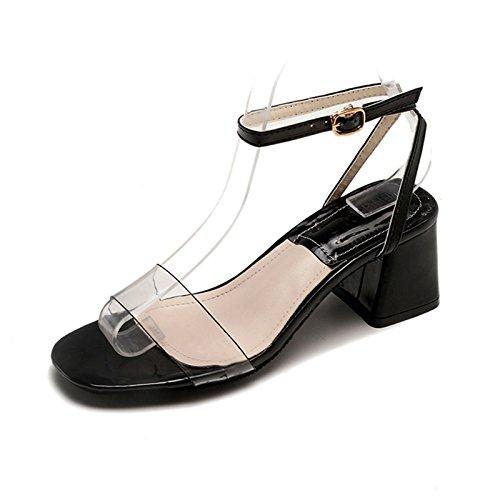 comoda donna trasparente estiva da punta tacco con YMFIE sandali black Moda aperta spesso semplice e wp4cY