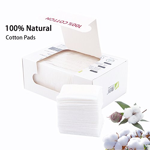 Organic Essentials Organic Cotton Rounds (Hasen Cotton Squares 100% Natural Cotton Pads Makeup Face Cleansing Pads Soft Hypoallergenic and Lint free Cotton Wipes 300pcs)