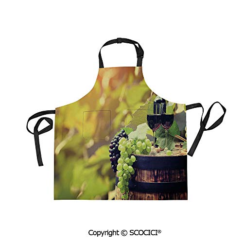 SCOCICI Men Woman Kitchen Printed Apron with Adjustable Neck 2 Side Pockets,Agriculture Country Theme Natural Landscape Product Alcoholic Drink Fruit Decorative,for Cooking Baking Gardening]()
