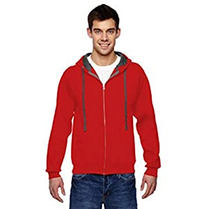 Fruit of the Loom 7.2 oz. Sofspun™ Full-Zip Hooded Sweatshirt, Large, FIERY RED