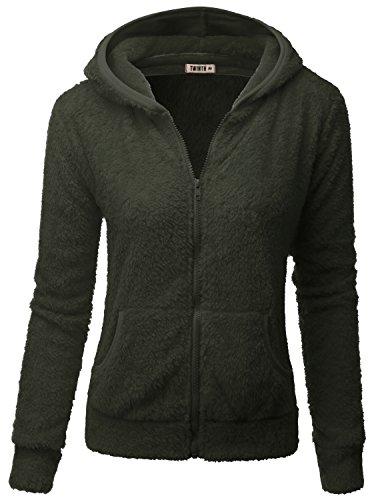 Jacket Windstopper Shell - Doublju Womens Casual Two Pocket Long Sleeve Fleece Jacket OLIVE,S