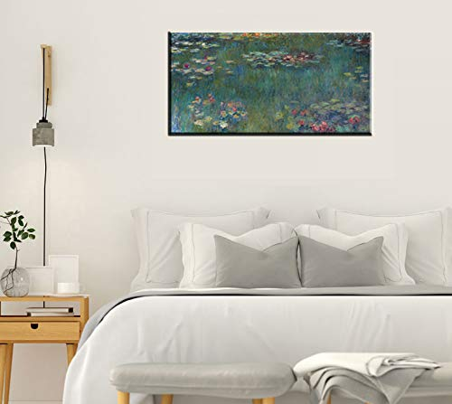 Canvas Wall Art Water Lilies by Claude Monet Painting Long Canvas Artwork Reproductions Famous Painting Framed for Living Room Home Decor