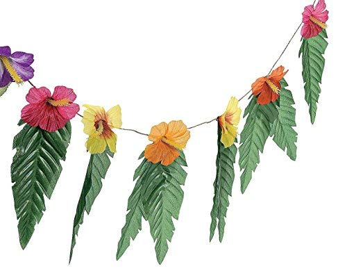 Fun Express 2 Pack - Hawaiian Luau Garland With Flowers and Green Leaves - 6 feet long