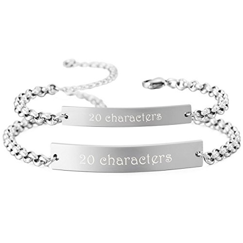 Customized Silver Bracelets (MeMeDIY 2PCS Silver Tone Stainless Steel Bracelet Link Couple Adjustable - Customized Engraving)