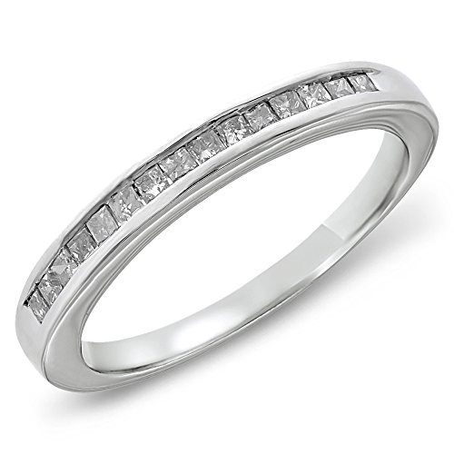 1/5 CTW Princess Diamond Channel Sterling Silver Wedding Band, Size 8