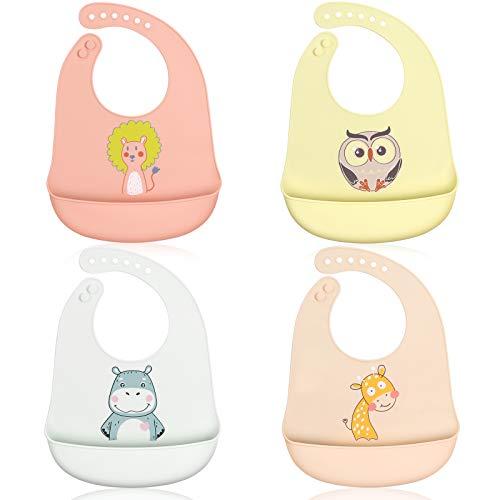 ABirdon Set van 4 Stuks Siliconen Baby Slabbetjes, Waterdichte Baby Bibs met Opvangbakje, Comfortabel en Lichtgewicht…