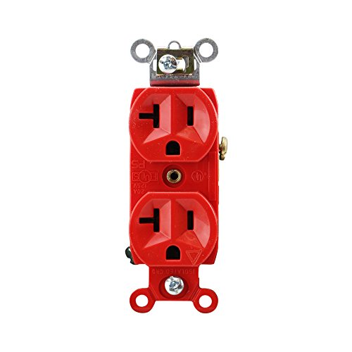 Pass & Seymour IG6300-Red Duplex Receptacle Isolated Ground 20A 125V, Red (10 Pack)