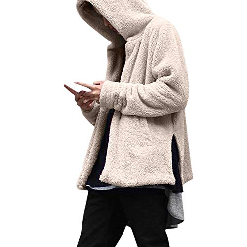 Mens Jacket Godathe Fashion Men's Autumn Winter Casual Loose Double-Sided Plush Hoodie Coat Top ()