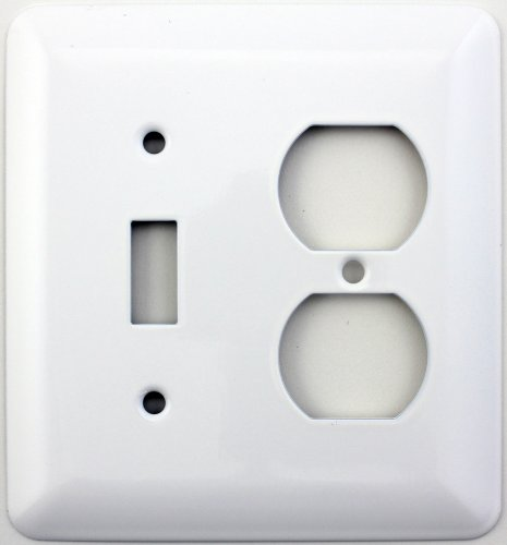 Mulberry Princess Style White Two Gang Combination Switch Plate - One Toggle Light Switch Opening One Duplex Outlet Opening