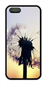 Semi-flower Dandelion TPU Case Cover For iPhone 5 and iPhone 5S Black