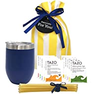 Tea Gift Set for Tea Lovers - Includes Double Insulated Tea Cup 12 Uniquely Blended Teas and All Natural Honey Straws | Tea Gift Sets for Women Men | Tea Gifts Bag Presented in Beautiful Gift Bag