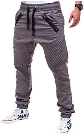 Romancly メンズジップスプリーツテーパークローズドボトム巾着スウェットパンツ