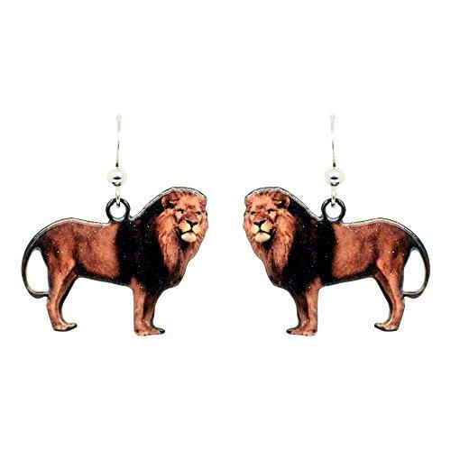 Lion Earrings by d'ears Non-Tarnish Sterling Silver French Hook Ear Wire