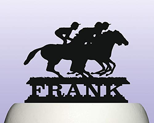 Cake Topper Personalised Jockey Rider Horse Racing Steeplechase Birthday Decoration Acrylic Available In 15 -