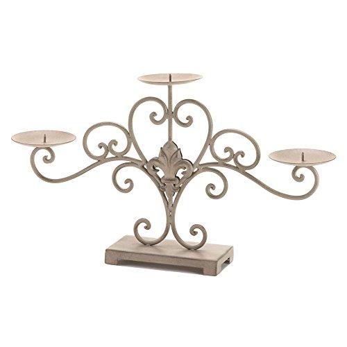 Fleur De Lis Centerpiece (Parisian Vintage Style Fleur De Lis Scrolling Metal Candle Stand)