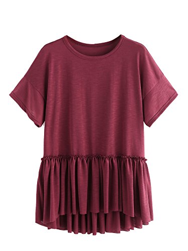 Romwe Women's Casual Ruffle Hem Drop Shoulder High Low Peplum Tunic Top Burgundy Large