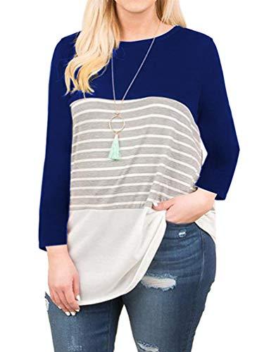 (Women's Plus Size Loose Tunic Shirts Long Sleeve Stripes Tee Tops Royal Blue 26W)