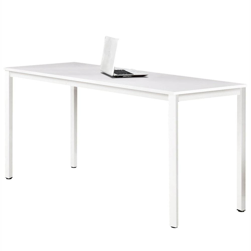 Dland 47'' Medium Computer Desk, Composite Wood Board, Decent & Steady Home Office Desk/ Workstation/ Table, BS1-120WW White & White Legs, 1 Pack by Dland (Image #1)