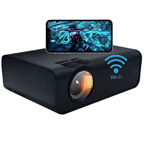 Smart WiFi Mini Projector, Full HD 1080P, Compatible with USB, VGA, Laptop, Smart Phone,etc. Sync Smartphone Screen via WiFi/USB Cable for Home Theater Entertainment (Same Screen Black)